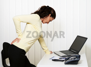 Back pain of the intervertebral disc in office work