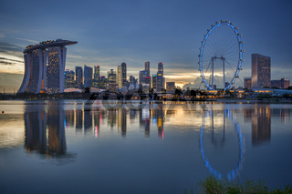 Singapore Skyline Reflected in Marina Bay