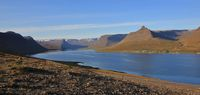 Alftafjoerdur on a late summer day. Fjord in Iceland.