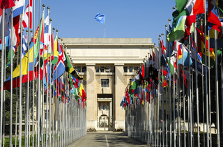 Flaggenhof der Vereinten Nationen, Genf, Schweiz