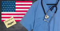 Blue scrubs with USA flag for healthcare issues
