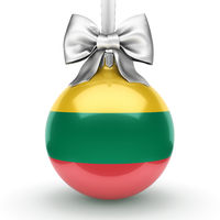 3D rendering Christmas ball with the flag of Lithuania
