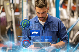 auto mechanic or smith with tablet pc at workshop