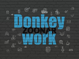 Business concept: Donkey Work on wall background