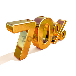 3d Gold 70 Seventy Percent Discount Sign