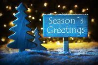 Blue Christmas Tree, Text Seasons Greetings