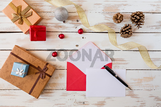 Christmas letter over a rustic wooden table
