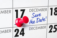 Wall calendar with a red pin - December 17