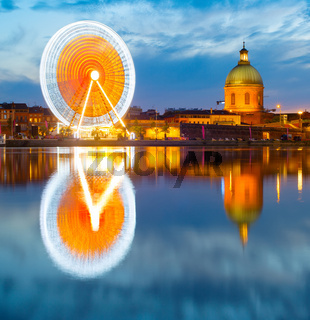 Toulouse landmarks by river. France