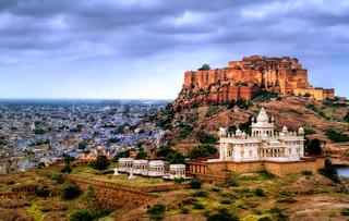 Mehrangharh Fort and Jaswant Thada mausoleum in Jodhpur, Rajasthan, India
