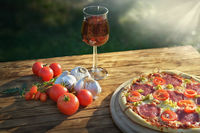 Pizza mit Sonne