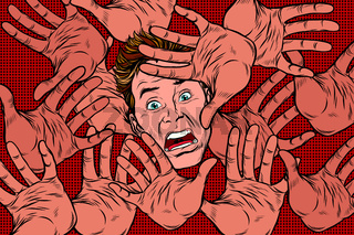 Horror fear background, hands and frightened face