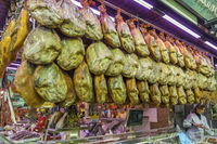 Cured Ham Indoor Market,Valencia Old Town, Spain