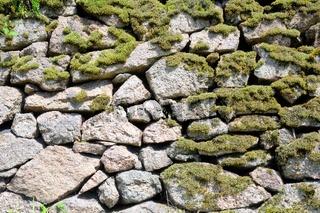 alte Trockenmauer aus Granit mit Moos