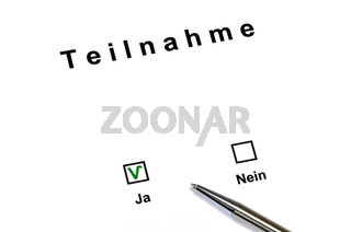 Participation yes - no  / Teilnahme ja - nein