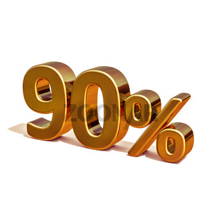 3d Gold 90 Ninety Percent Discount Sign