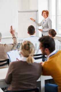 Präsentation in einem Business Seminar