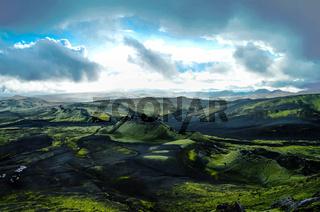 Landscape of Lakagigar volcanic valley central Iceland
