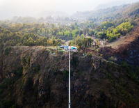 Drone view of suspension bridge in Nepal