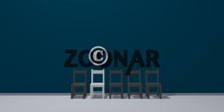 copyright symbol und eine reihe von stühlen - 3d rendering