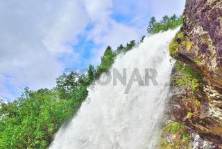 Closeup of Steinsdalsfossen upper waterfall