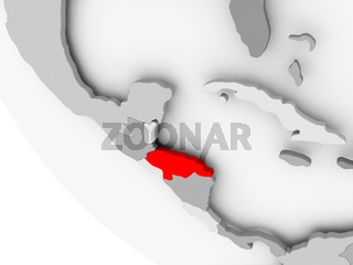 Map of Honduras in red