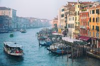 Morning beauty atmosphere of Grand canal streets in Venezia