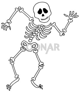 Dancing skeleton on white background - isolated illustration.