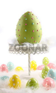 Large colored easter egg with feathers