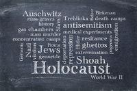 Holocaust word cloud on blackboard