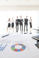 Financial data and business people