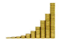 stacked euro coins show sucessful chart