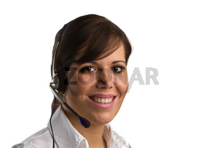 Frau mit Head Set