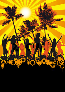 Orange Retro Party am Strand