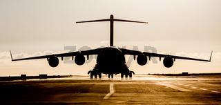 Large military cargo plane silhouette