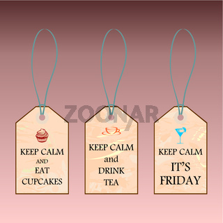 Three labels with Keep calm text