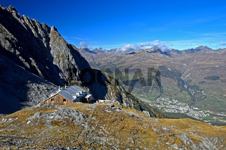 Lischana Hütte vom Schweizer Alpen-Club SAC bei Scuol, Graubünden, Schweiz