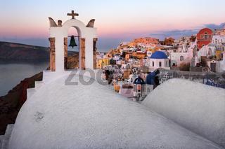 White Churches of Oia Village in the Morning, Santorini, Greece