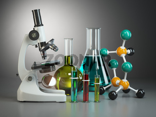 Microscope with flasks, vials and model of molecule. Chemistry or medical pharmaceutical labratory tools.