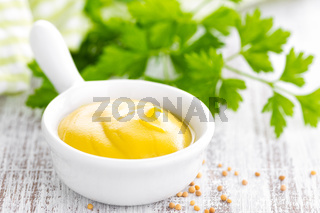 Mustard on white background