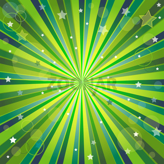Abstract Green And Yellow Background With Rays