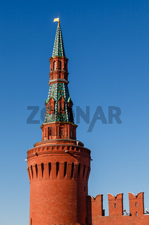 Beklemishevskaya (Moskvoretskaya) Tower of Kremlin and Kremlin Wall, Moscow, Russia