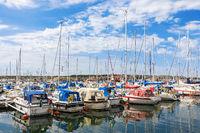 Marina with pleasure boats on the coast