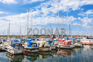 Marina with pleasure boats on the coast
