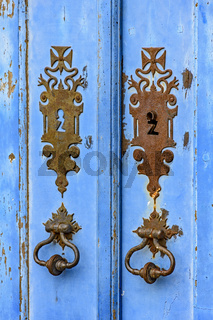 Old blue wooden church door