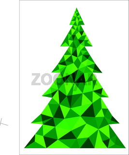 Abstract green polygonal Christmas tree on a white background