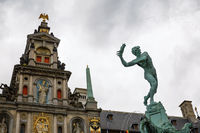 Brabo fountain and traditional flemish architecture at Grote Markt square in Antwerp in Belgium.