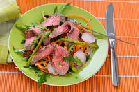 Frühlingssalat mit saftigen Rindersteak-Streifen