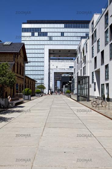 The Kranhaeuser buildings on Rheinau port, Cologne, Germany