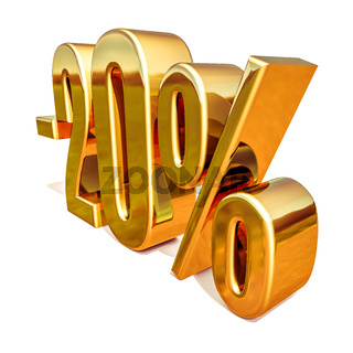 3d Gold 20 Twenty Percent Discount Sign